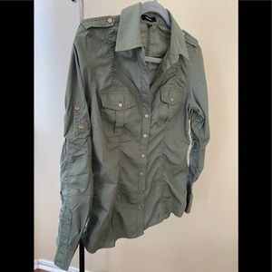 Express olive green long sleeve shirt